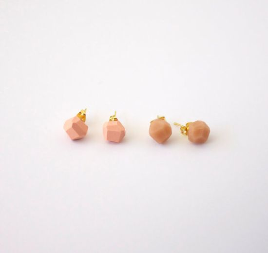 peach geo earrings by AMM jewelry