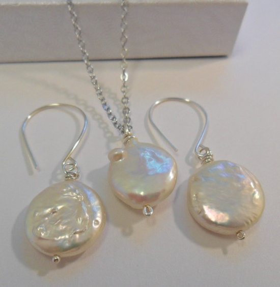 Bridal Set Coin Fresh Fresh Water pearl Earrings by juliekaunath, $22.00