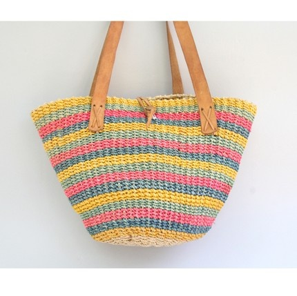 Vintage Striped Straw and Leather Bag