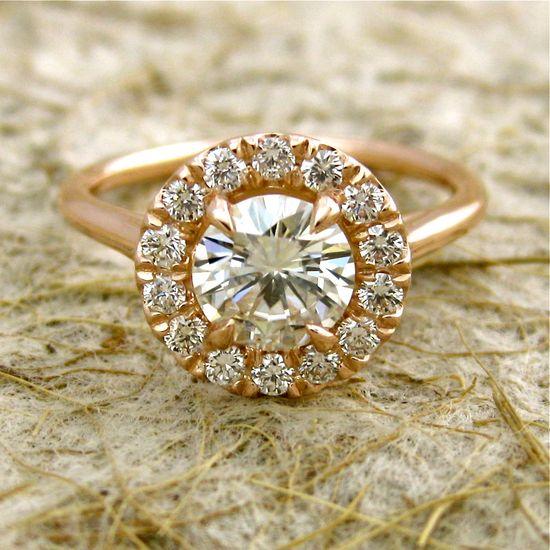 14k Rose Gold Moissanite Diamond Engagement Ring. via Etsy.