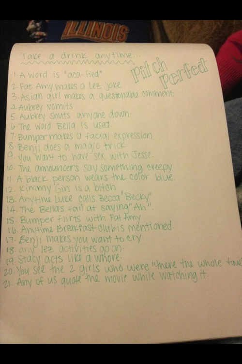 pitch perfect drinking game | Tumblr