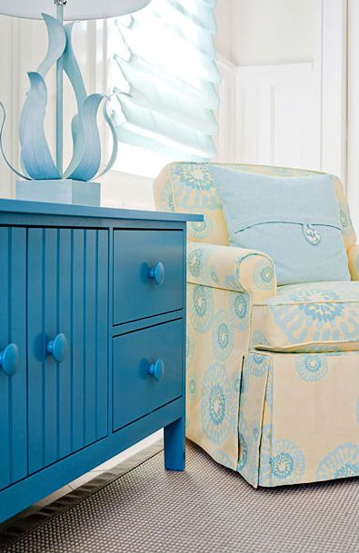 Blue and Yellow Beach House Decor from Maine Cottage... This would be so cute for a kids room in a beach house!