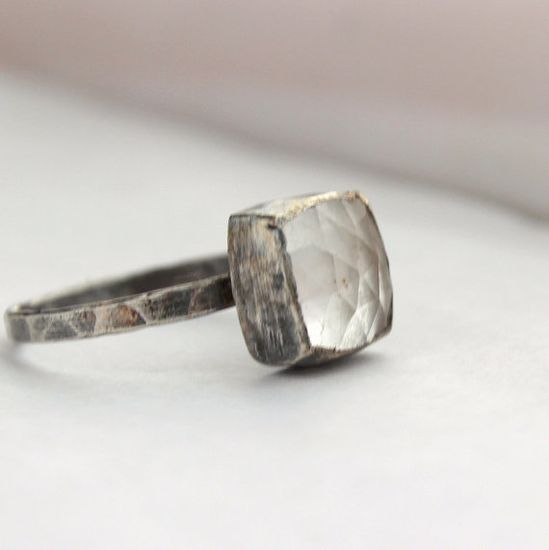 Handmade sterling silver faceted crystal quartz ring