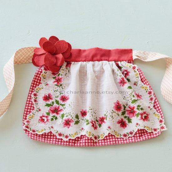 red vintage apron