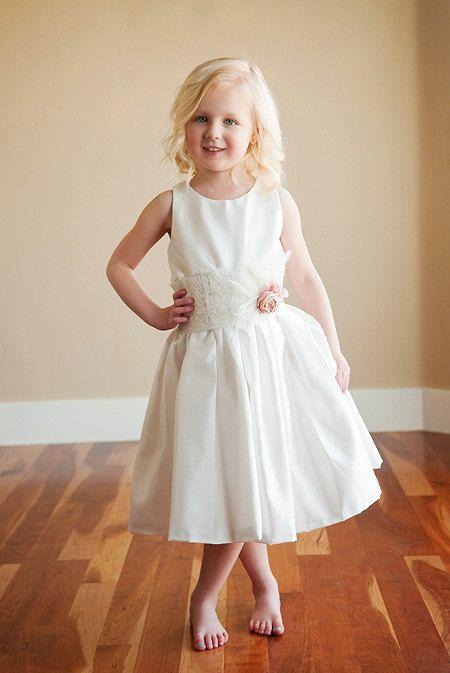 Flower girl dress for wedding  in cotton, silk or satin. 1920s flower girl dress. Bridesmaid dress.. $80.00, via Etsy.