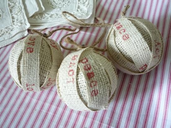 § handmade burlap ornaments