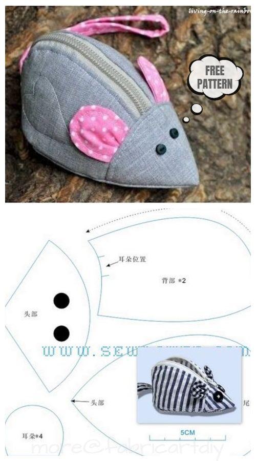 DIY Mouse Zipper Purse Free Sewing Pattern
