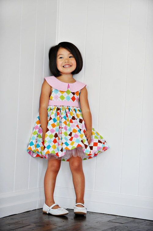 Argyle Party Dress  PDF Sewing  Pattern for by abloomingstitch, $8.00, I like the tulle layer underneath, maybe for Zoey's Easter dress
