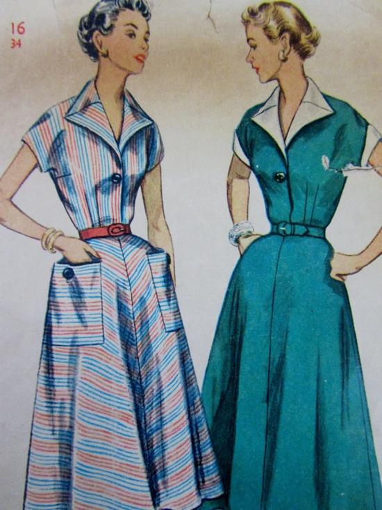 1940s 1950s Dress Pattern - Day Dress with Kimono Sleeve