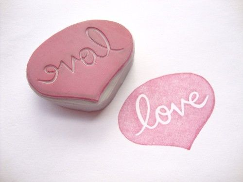 Love Speech Bubble Hand Carved Rubber Stamp