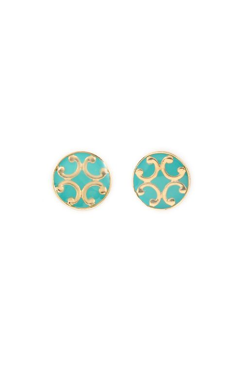 turquoise and gold studs