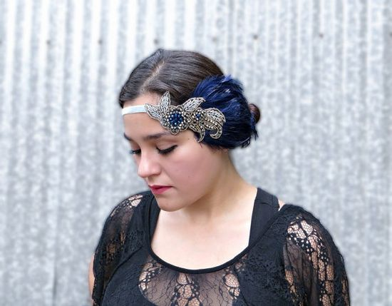 The Great Gatsby 1920s Headband Roaring 20s by FlowerCouture, $35.00 #headband #navy #blue #feather #flapper #greatgatsby #hairpiece