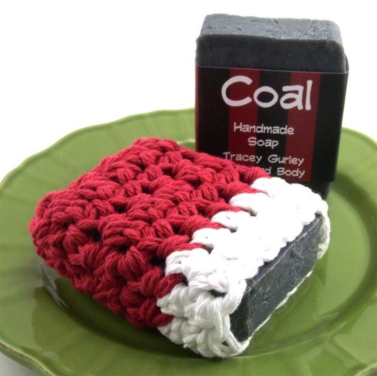 coal handmade soap, soap saver, natural, vegan from tgurleybathandbody on etsy