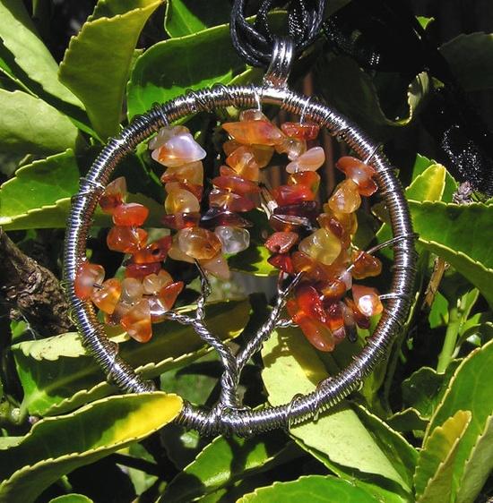Carnelian Crystal Gemstone Tree of Life Pendant  by SunnyCrystals, £9.00 #jewelry #jewellery #carnelian #orange #tree of life #pendant #gemstone #agate