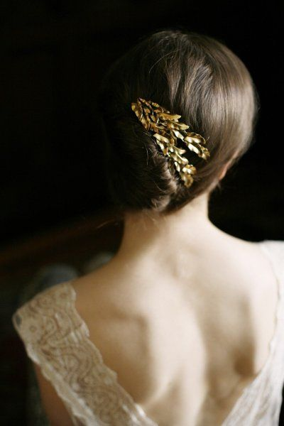 beautiful charming updo   wedding hair  gold accessory