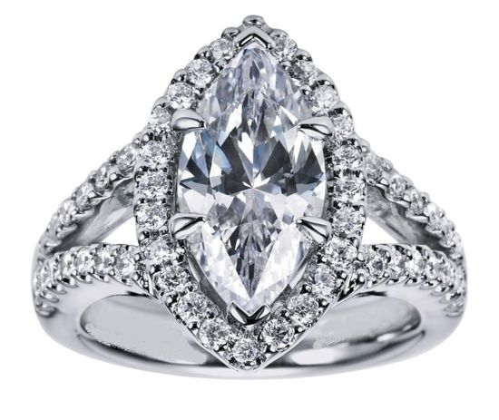 Engagement Ring - Marquise Diamond Engagement Ring Halo Double band in White Gold - ES1076MQ
