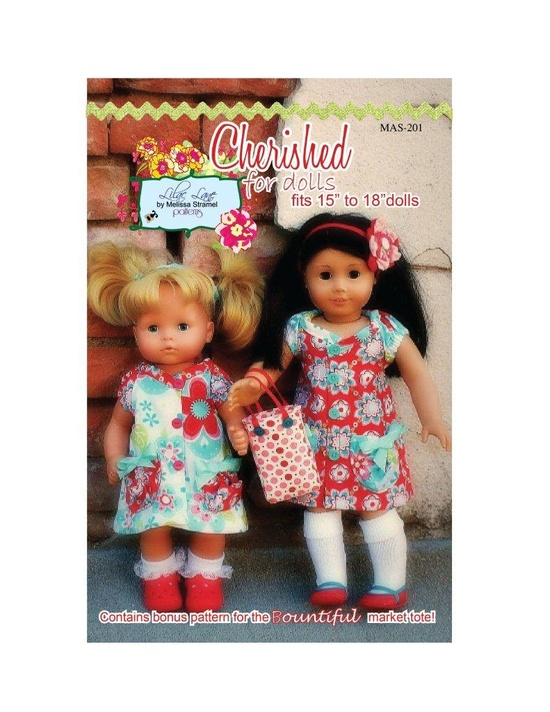"""Cherished for Dolls Dress e-Pattern for American Girl and Bitty Baby 15"""" 18"""" dolls."""
