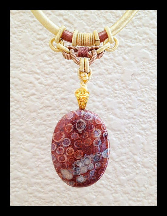 Fossilized Cabochon Coral Necklace by DBBaublesandBling on Etsy, $15.00