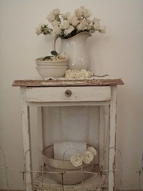 Old Chippy Stand...with white ironstone pitcher.