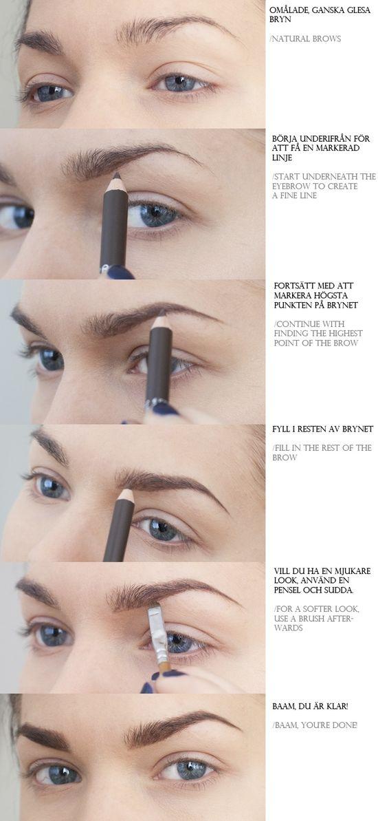 DIY Eyebrows With A Pencil diy diy ideas easy diy diy fashion diy makeup diy tutorial diy picture tutorial diy eyebrows