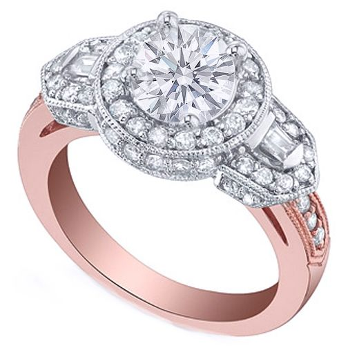 Vintage Style Pink Gold Round Diamond Halo Engagement Ring with Baguettes