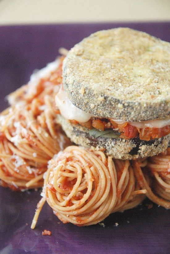 Eggplant Parmesan Stacks - even easier when you use pre-breaded frozen eggplant. I found some at Trader Joe's.