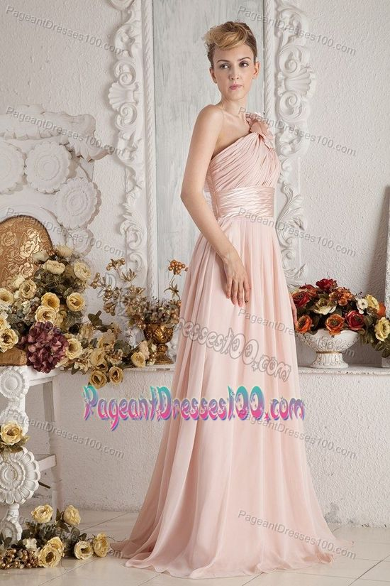 One Shoulder Baby Pink Pageant Girl Dress with Handmade Flowers