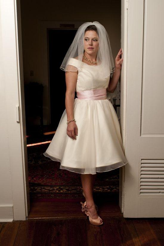 red sash?  Tea Length Wedding Dress  Vintage Retro by bridalblissdesigns, $719.00