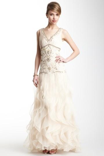 V-Neck Beaded Gown