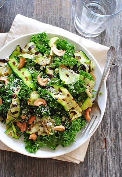 Grilled Zucchini Ribbon and Kale Salad