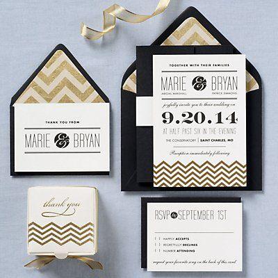 Gold Chevrons Wedding Invitation