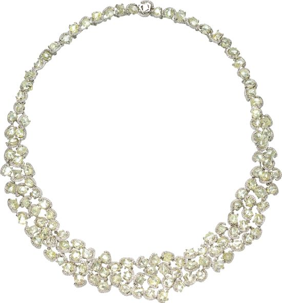 "One of a kind Champagne Bubbles wreath necklace featuring 106.88cts of rough diamonds accented by 5.68cts of micro pavé diamonds in Platinum 16"" long."