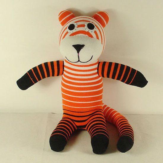 Handmade Orange Striped Sock by supersockmonkeys