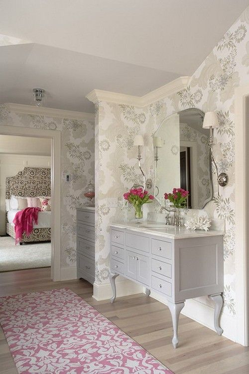 Attractive Flowers Wallpaper and Modern Powder Room in Girls Bedroom Design Ideas