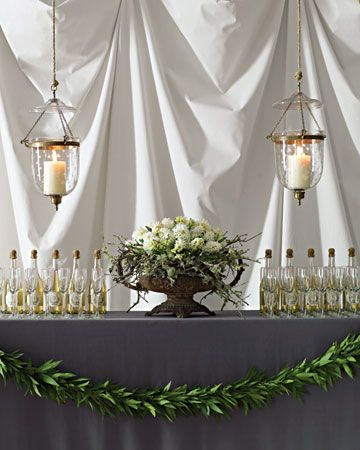 champagne bar with a beautiful urn arrangement