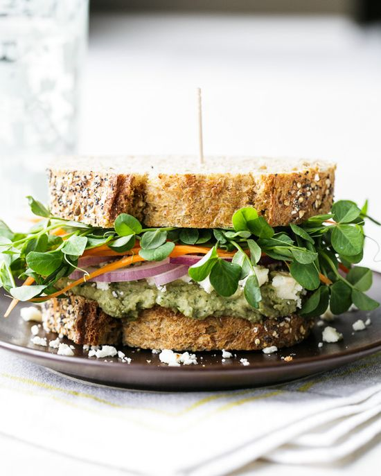 Mediterranean Loaded Veggie Sandwich.