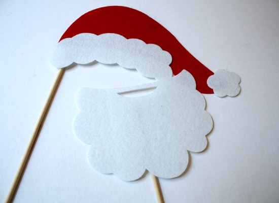 Holiday Props. Santa Props. Photo booth Props. Santa Hat. Party Props. Christmas Props - The Santa Envy Maro Kit. $11.95, via Etsy.