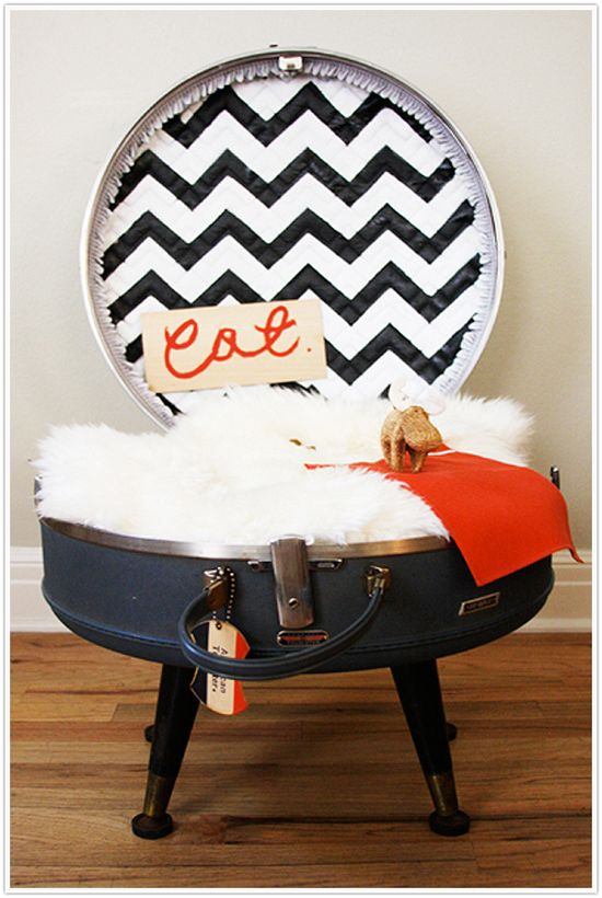 So. If your kitty is anything like mine, you know the love affair between cats and suitcases. I've wondered if I could transform an old vintage suitcase into an adorable cat bed, and stumbled on this website. So cute.