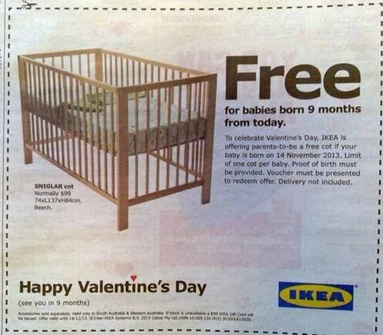 Funny and inspired: Great retail promotion from Ikea for Valentine's #funny commercial ads #interesting ads #funny ads