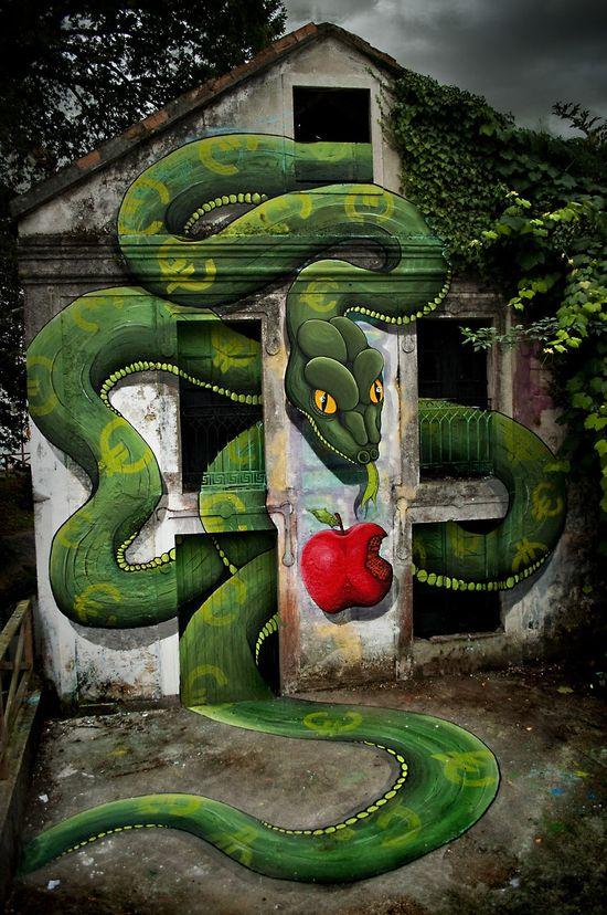 Amazing Green 3D Snake, Spain...