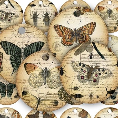 Vintage Butterflies Insects on French Ephemera Tags