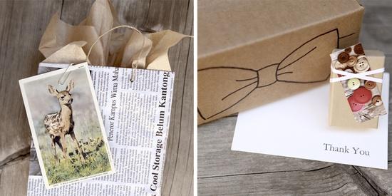 Handmade gift bag and postcard tag.