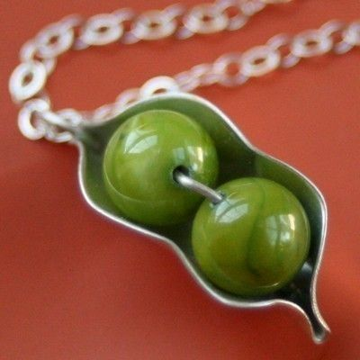 Two Peas in a Pod Necklace by sudlow on Etsy, $37.00