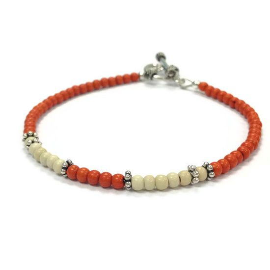 Skinny Orange Bracelet Orange Turquoise by jewelrybycarmal on Etsy, $18.00