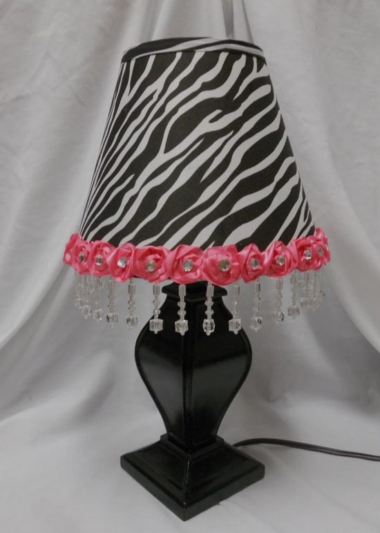 Table Lamp for a girl's room zebra hot pink by SugarCookieBoutique, $35.00