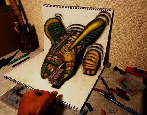 Japanese Artist Sketches 3D Optical Illusion Artworks In Pencil Art - DesignTAXI.com