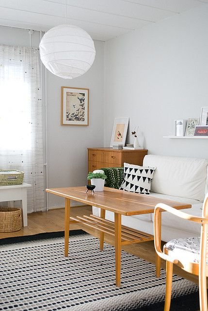 Light grey, white and wood with black