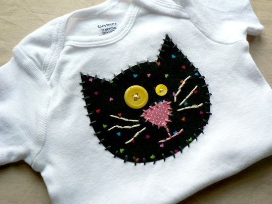 Kitty Cat Applique Onesie or Shirt Custom Size and by ohmelisa
