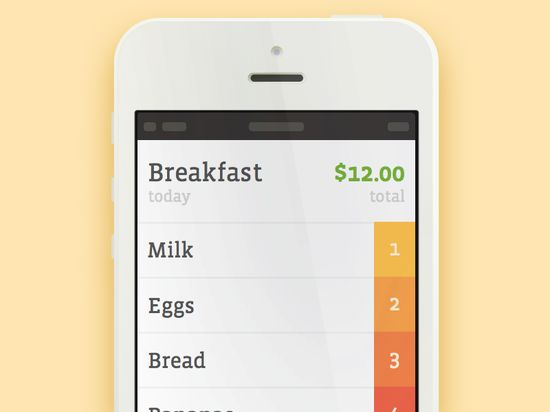 Shopping List App 20 Fantastic Examples of Flat UI Design In Apps