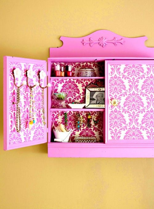 old wall unit into jewelry storage